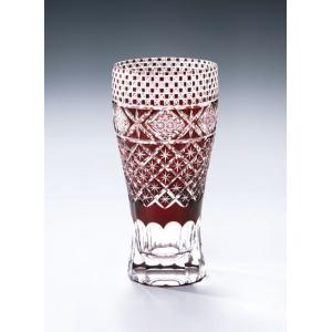 切子ガラス ロングビアグラス メテオBレッド|i-matsumoto