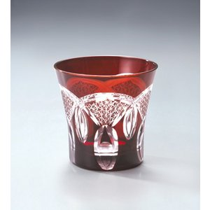 切子ガラス ロックグラス 刺子ドーム レッド i-matsumoto