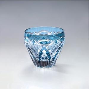 切子ガラス 酒カップ 刺子アーチ ブルー|i-matsumoto