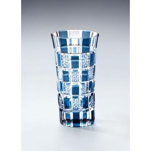 切子ガラス 一口グラス 刺子市松 ブルー|i-matsumoto