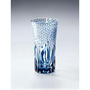 切子ガラス 一口グラス 刺子ウェーブ ブルー|i-matsumoto