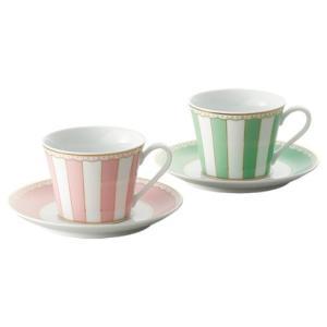 ノリタケ食器 カーニバル ティー・コーヒー碗皿ペアセット(ピンク・グリーン)|i-matsumoto