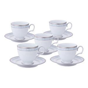 ノリタケ 食器 ハンプシャープラチナ ティー・コーヒー碗皿5客セット|i-matsumoto