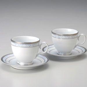 ノリタケ 食器 ハンプシャープラチナ ティー・コーヒー碗皿ペア|i-matsumoto