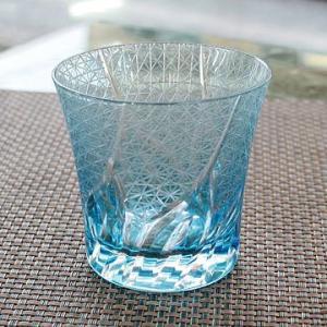切子ガラス ロックグラス 刺子ウェーブ ブルー|i-matsumoto