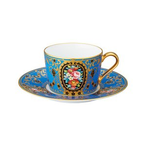 ノリタケ食器オマージュ コレクション カプチーノ碗皿(青絵花文)|i-matsumoto