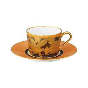 ノリタケ食器オマージュ コレクション カプチーノ碗皿(橙絵花鳥文)|i-matsumoto