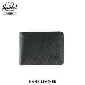 ハーシェル 財布 正規販売店 Herschel Supply ハーシェルサプライ ウォレット 10049-00004-OS Hank Leather Black Pebble Leather 財布 レザー|i-mixon