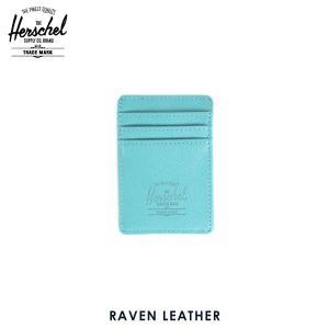 ハーシェル カードケース 正規販売店 Herschel Supply ハーシェルサプライ 10048-00036-OS Raven Leather Teal Pebble Leather レザーカードホルダー|i-mixon