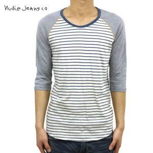 ヌーディージーンズ Tシャツ メンズ Nudie Jeans 七分 Quarter Sleeve Tee WHITE-BL|i-mixon