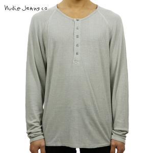 ヌーディージーンズ ロンT メンズ 正規販売店 Nudie Jeans 長袖Tシャツ ヘンリーネックTシャツ LONG SLEEVE HENRY TEE GREY GREY D15S25|i-mixon