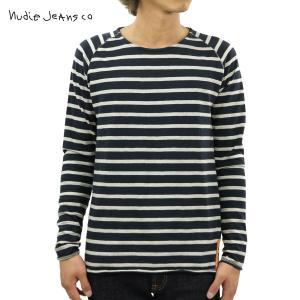 ヌーディージーンズ ロンT メンズ 正規販売店 Nudie Jeans 長袖Tシャツ Otto Raglan Sleeve Organic Melange Stripe 131246 Blue/Greymel D15S25|i-mixon