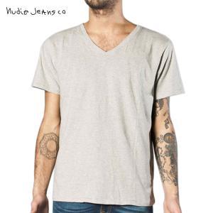ヌーディージーンズ Tシャツ メンズ Nudie Jeans 半袖Vネック V-Neck T-Shirt 130987 G|i-mixon