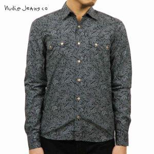ヌーディージーンズ シャツ メンズ Nudie Jeans 長袖 Gusten Printed 140274 Black/|i-mixon