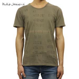 ヌーディージーンズ Tシャツ メンズ Nudie Jeans 半袖 Round Neck T-shirt Mud G13|i-mixon