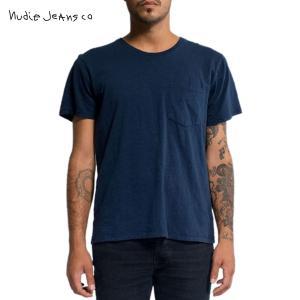 ヌーディージーンズ Tシャツ メンズ Nudie Jeans 半袖 Round Neck Pocket Tee Navy|i-mixon