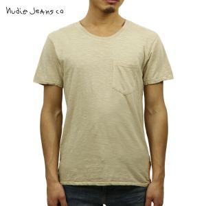 ヌーディージーンズ Tシャツ メンズ Nudie Jeans 半袖 Round Neck Pocket Tee Ecry|i-mixon
