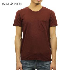 ヌーディージーンズ Tシャツ メンズ Nudie Jeans 半袖 Round Neck Pocket Tee Wine|i-mixon