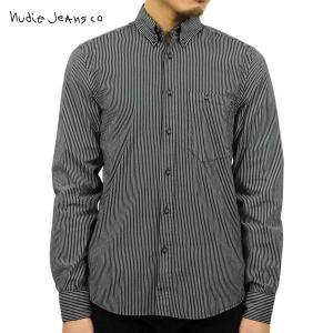ヌーディージーンズ シャツ メンズ Nudie Jeans 長袖 Stanley Printed Stripe Black|i-mixon