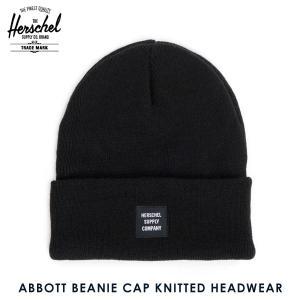 ハーシェル キャップ 正規販売店 Herschel Supply ハーシェルサプライ ニットキャップ ABBOTT BEANIE CAP KNITTED HEADWEAR 1001-0001-OS BLACK i-mixon