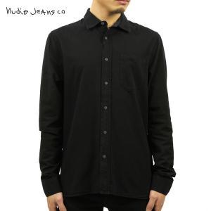ヌーディージーンズ シャツ メンズ Nudie Jeans 長袖 Henry Black 140374|i-mixon
