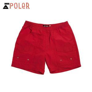 ポーラー ショートパンツ メンズ 正規販売店 POLER ボトムス VOLLEY CAMP SHORT 611148-RED SAL|i-mixon