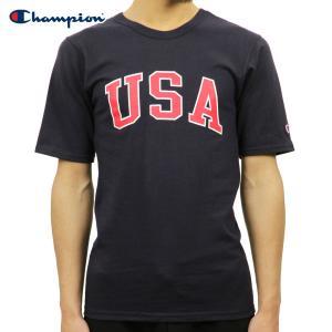 チャンピオン Tシャツ 正規品 CHAMPION 半袖Tシャツ  CREW TEE T1919P Heritage Tee 031-NAVY 549393 USA Arch|i-mixon