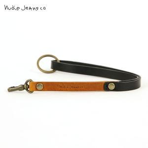 ヌーディージーンズ Nudie Jeans 正規販売店 キーホルダー MARKUSSON TWO COLOUR KEYRING BLACK/COGNAC C08 180710|i-mixon