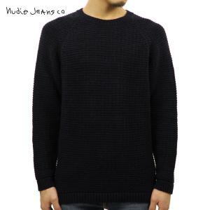 ヌーディージーンズ セーター メンズ Nudie Jeans 正規販売店 HANS STRUCTURE KNIT SWEATER 150327 6002 BLACK/BLUE i-mixon