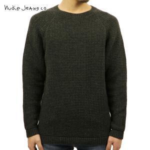 ヌーディージーンズ セーター メンズ Nudie Jeans 正規販売店 HANS STRUCTURE KNIT SWEATER 150327 6002 GREEN/GREYMELANGE i-mixon