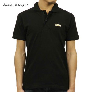 ヌーディージーンズ ポロシャツ 正規販売店 Nudie Jeans 半袖ポロシャツ  MIKAEL LOGO POLO SHIRT BLACK B01 131621 4006 i-mixon