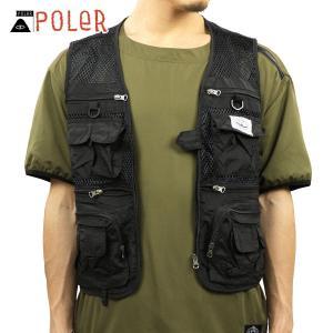 ポーラー ベスト メンズ 正規販売店 POLER アウター フィッシングベスト MULTI POCKET VEST 55100106-BLK BLACK i-mixon