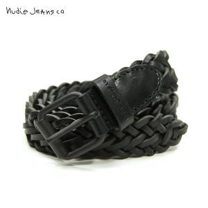 ヌーディージーンズ ベルト メンズ 正規販売店 Nudie Jeans レザーベルト 本革 BRETT BELT LEATHER BELT BLACK B01 180915|i-mixon