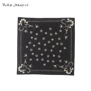 ヌーディージーンズ バンダナ メンズ レディース 正規販売店 Nudie Jeans スカーフ NUDIE JEANS BANDANA BLACK B01 180972|i-mixon
