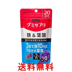 送料無料 UHAグミサプリ 鉄&葉酸 アサイーミックス味 スタンドパウチ 40粒 20日分 単品