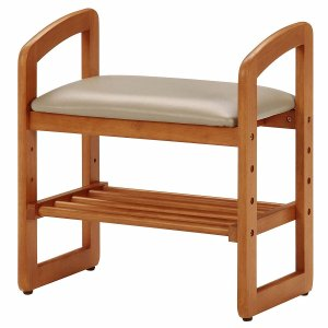 玄関椅子 玄関ベンチ ナチュラル 木製 サポートチェア 95778