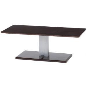 昇降テーブル 幅120cm 高さ43~57cm ブラウン×シルバー ガス圧 キャスター付き 無段階調整 10498 不二貿易