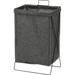 ランドリーバスケット 洗濯かご 幅37cm 容量約30L グレー 横型 折りたたみ 持ち運び可能 内...