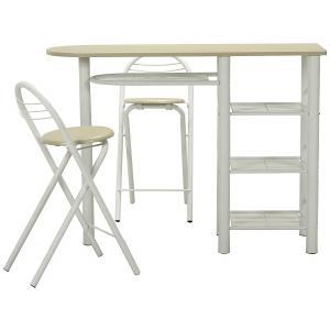 カウンター テーブル チェア 3点セット ホワイト 95246
