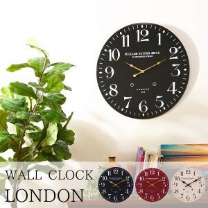 掛け時計 直径60cm ブラック レトロ風 LONDON 72718【メーカー直送品】