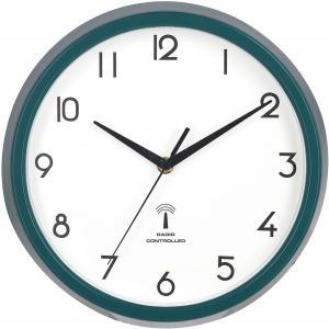 掛け時計 電波時計 直径27cm グリーン スイープ 連続秒針 静音 カペラ 27267