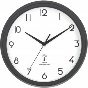 掛け時計 電波時計 直径27cm ブラック スイープ 連続秒針 静音 カペラ 27269