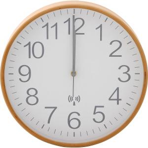 掛け時計 直径28cm ホワイト 電波 木製 プライウッド 85352