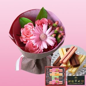 誕生日プレゼント花母親祖母 銀座千疋屋フルーツスイーツケーキ4本&ピンクの花束 基本送料無料