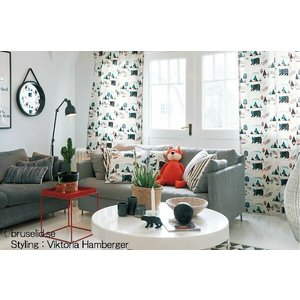サンゲツ(ジェニー・ヴァルマルク/スウェーデン)北欧デザイナーズカーテン SC3287〜SC3288 巾100×丈81〜100cm(2枚入) 約2倍 3つ山ヒダ 形態安定加工付|i-read