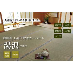 上敷き い草カーペット 3畳 糸引織 日本製 梅クラス 「湯沢(ゆざわ)」 団地間 3畳(約170×255cm) いぐさ ござ 井草 ゴザ|i-s