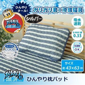 枕パッド 洗える 冷感 涼感 接触冷感 消臭 「ガリガリ君 シルバー」 約43×63cm 吸水 速乾 i-s