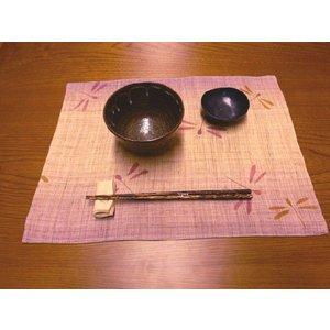 クーポン対象 ランチョンマット 手織り 本麻 「ぼかしトンボ」 32×42cm i-s
