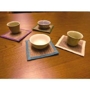 クーポン対象 コースター 手織り 本麻 「かづら」 10×10cm i-s