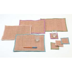 クーポン対象 コースター 手織り 本麻 「かづら」 10×10cm 4枚セット i-s